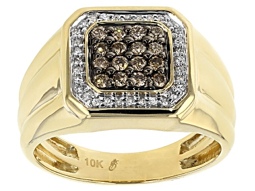 Photo of .50ctw Round Champagne And White Diamond 10k Yellow Gold Gents Ring - Size 11
