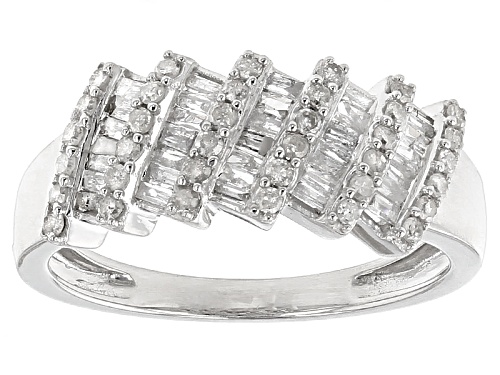 .60ctw Round And Baguette White Diamond 10k White Gold Ring - Size 7