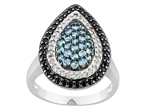 Photo of .64ctw Round Swiss Blue Topaz, .23ctw Round White Topaz With .42ctw Round Black Spinel Silver Ring - Size 8