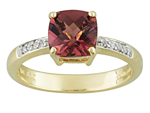 Photo of 1.45ct Square Cushion Grape Color Garnet And .05ctw Round White Zircon 10k Yellow Gold Ring - Size 8