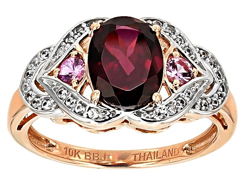 Photo of 1.78ct Oval Grape Color Garnet, .15ctw Pink Sapphire With .17ctw White Zircon 10k Rose Gold Ring - Size 6