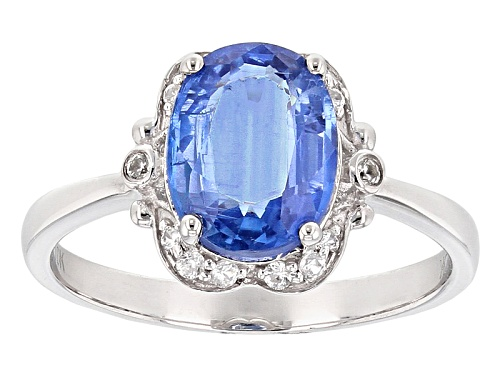 Photo of 3.00ct Oval Nepalese Blue Kyanite With .16ctw Round White Zircon 10k White Gold Ring. - Size 8
