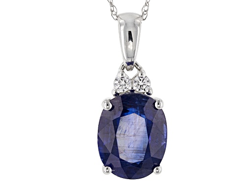 Photo of 2.55ct Oval Kyanite With .07ctw Round White Zircon 10k White Gold Pendant With Chain