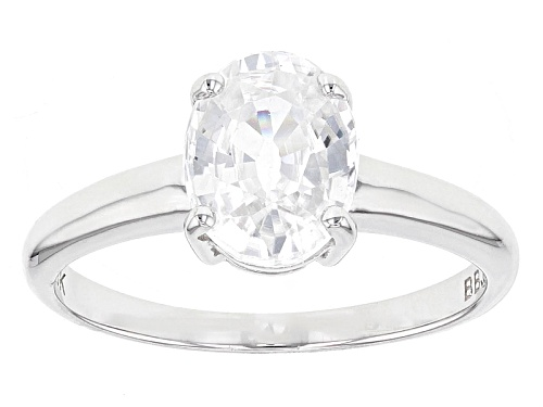 Photo of 2.28ct Oval White Zircon 10k White Gold Solitaire Ring. - Size 7