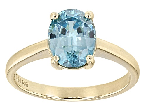 Photo of 2.05ct Oval Blue Zircon Solitaire 10k Yellow Gold Ring. - Size 7