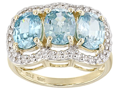 Photo of 4.03ctw Oval 3-Stone Blue Zircon With .23ctw Round White Zircon 10k Yellow Gold 3-Stone Ring. - Size 8