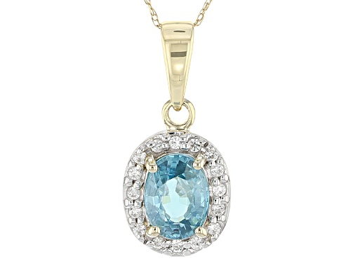Photo of 1.34ct Oval Blue Zircon With .12ctw Round White Zircon 10k Yellow Gold Pendant With Chain.
