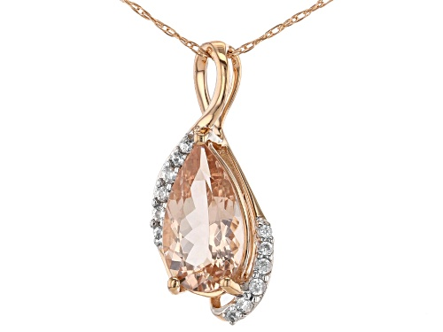 Photo of 1.19ct Pear Shape Cor-De-Rosa Morganite™ And .82ctw White Zircon 10k Rose Gold Pendant With Chain