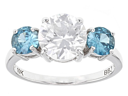 Photo of 2.25ct Round White With 1.10ctw Round Blue Zircon 10k White Gold Ring. - Size 8