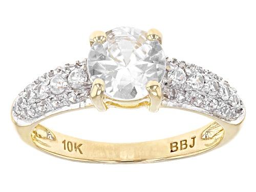 Photo of 1.76ctw Round White Zircon 10k Yellow Gold Ring. - Size 8