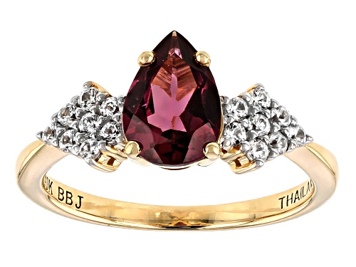 Photo of 1.19ct Pear Shape Grape Color Garnet And .27ctw Round White Zircon 10k Yellow Gold Ring - Size 8