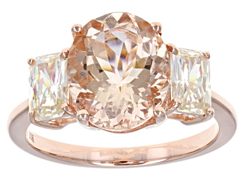 Photo of 2.81ct Cor-De-Rosa Morganite™ w/ 1.29ctw  Fabulite Strontium Titanate 10k Rose Gold Ring - Size 9