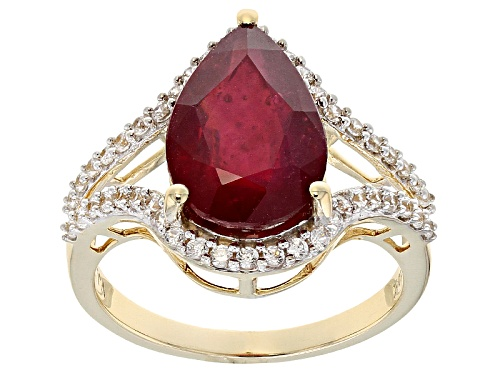Photo of 5.75ct Pear Shaped Mahaleo® Ruby With .35ctw Round White Zircon 10k Yellow Gold Ring. - Size 7