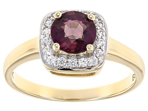Photo of .92ct Round Purple Spinel With .16ctw Round White Zircon 10k Yellow Gold Ring. - Size 8