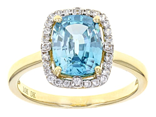 Photo of 2.89ct Rectangular Cushion Blue Zircon With .18ctw Round White Zircon 10k Yellow Gold Ring. - Size 9