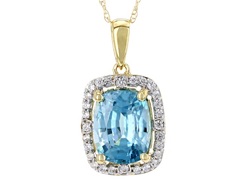 Photo of 2.89ct Rectangular Cushion Blue Zircon & .18ctw Round White Zircon 10k Yellow Gold Pendant W/Chain