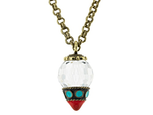 Photo of Katy Richards ™ White Crystal Simulant Coral And Turquoise Antiqued Gold Tone Necklace