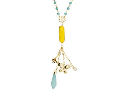 Photo of Katy Richards ™ Simulant Turquoise Yellow Resin Pearl Simulant Gold Tone Dangle Necklace