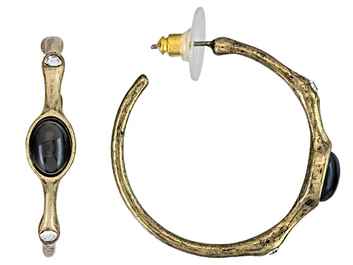 Photo of Katy Richards ™ Black Crystal Antiqued Gold Tone Hoops