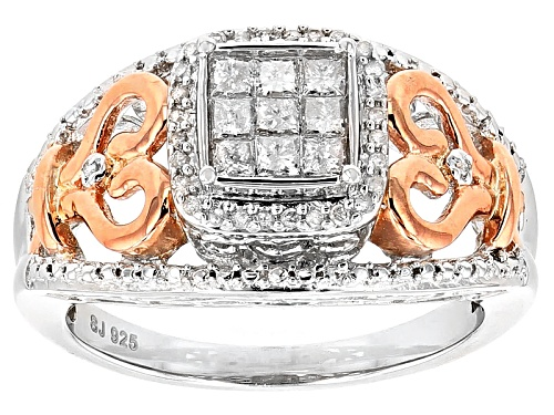 Photo of .40ctw Princess Cut & Round White Diamond Rhodium And 14k Rose Gold Over Silver Quad Ring - Size 6