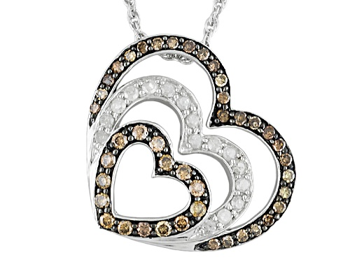 """Photo of .66ctw Round Champagne And White Diamond Rhodium Over Sterling Silver Heart Pendant With 18"""" Chain"""