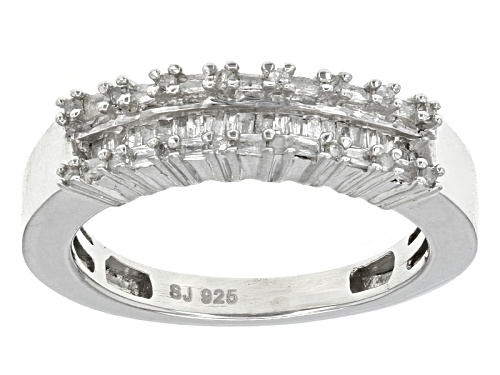 Photo of .25ctw Baguette And Round White Diamond Rhodium Over Sterling Silver Band Ring - Size 6