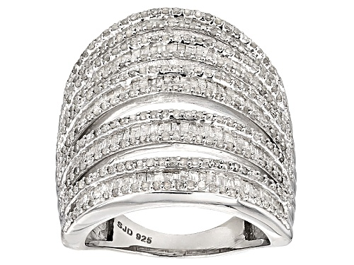 Photo of 2.05ctw Round And Baguette White Diamond Rhodium Over Sterling Silver Cocktail Ring - Size 8