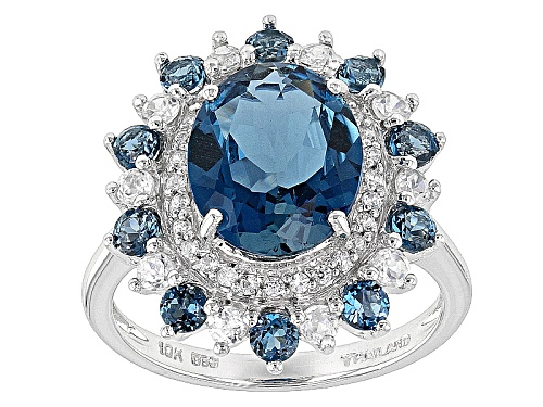 Photo of 3.05ct Oval And .71ctw Round London Blue Topaz And .62ctw White Zircon 10k White Gold Ring - Size 8