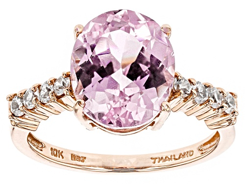 Photo of 4.84ct Oval Kunzite And .35ctw Round White Zircon 10k Rose Gold Ring - Size 8