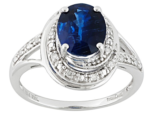 Photo of 2.11ct Oval Kyanite And .05ctw Round White Diamond Accent 10k White Gold Ring - Size 6