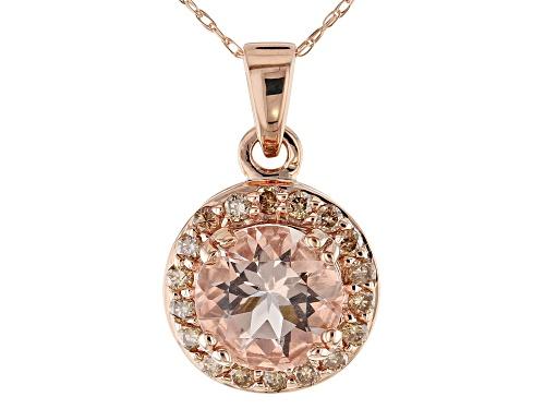 Photo of 1.48ct Round Cor-de-Rosa Morganite™ and .25ctw Champagne Diamonds 10K Rose Gold Pendant W/Chain