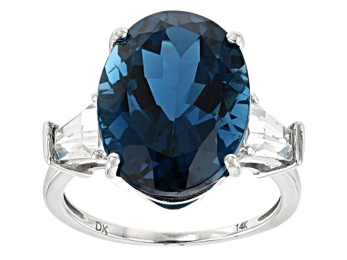 Photo of 9.01ct Oval London Blue Topaz With 1.16ctw White Zircon Rhodium Over 14k White Gold Ring - Size 7