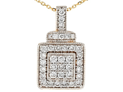 Photo of .59ctw Round White Lab-Grown Diamond 14K Yellow Gold Pendant with 18 inch Rope Chain
