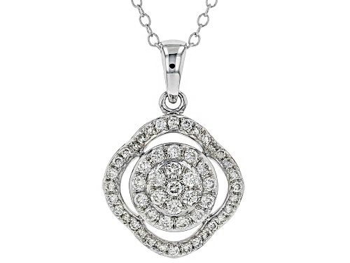 Photo of 0.50ctw Round White Lab-Grown Diamond 14K White Gold Pendant With 18 inch Chain.