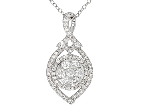 Photo of .75ctw Round White Lab-Grown Diamond 14K White Gold Pendant With An 18inch Cable Chain