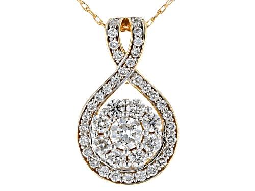 "Photo of 0.65ctw Round White Lab-Grow Diamond 14K Yellow Gold Pendant With An 18"" Singapore Chain"