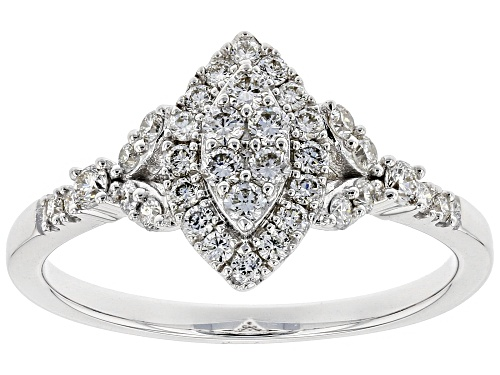 Photo of 0.50ctw Round White Lab-Grown Diamond 14K White Gold Cluster Ring - Size 6