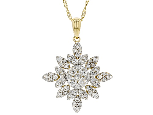 "Photo of 1.05ctw Round White Lab-Grown Diamond 14K Yellow Gold Cluster Pendant With 18"" Singapore Chain"