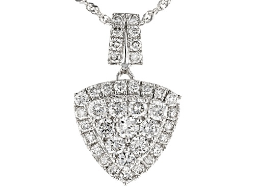 "Photo of 0.69ctw Round White Lab-Grown Diamond 14K White Gold Cluster Pendant With 18"" Singapore Chain"