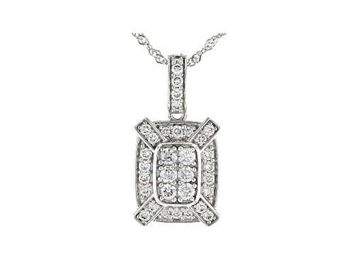 Photo of 0.47ctw Round White Lab-Grown Diamond 14K White Gold Cluster Pendant With Chain