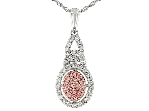 "Photo of 0.55ctw Round Pink And White Lab-Grown Diamond 14K White Gold Pendant With 18"" Singapore Chain"