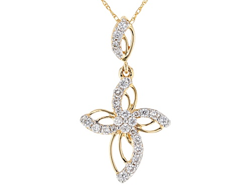 """Photo of 0.30ctw Round White Lab-Grown Diamond 14k Yellow Gold Cross Pendant With 18"""" Rope Chain"""