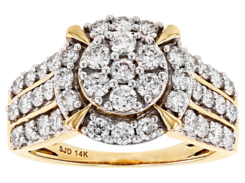 Photo of 1.50ctw Round White Lab-Grown Diamond 14k Yellow Gold Cluster Ring - Size 8