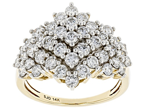 Photo of 2.00ctw Round White Lab-Grown Diamond 14k Yellow Gold Cluster Ring - Size 7