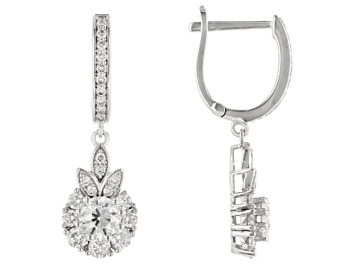 Photo of 1.10ctw Round White Lab-Grown Diamond 14k White Gold Dangle Earrings