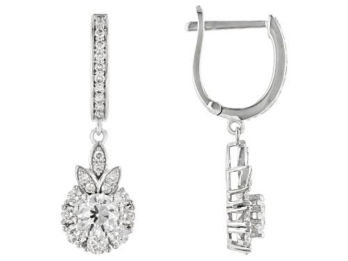 Photo of 1.10ctw Round White Lab-Grown Diamond 14k White Gold Dangle Earrings