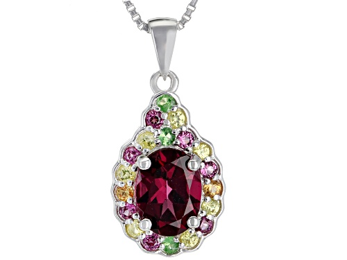 Photo of 1.32ctw Raspberry Color Rhodolite, 15ctw Sapphire & .04ctw Tsavorite silver pendant with chain