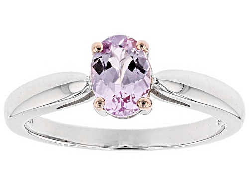 Photo of .74CT OVAL BRAZILIAN PRECIOUS PINK TOPAZ RHODIUM OVER STERLING SILVER SOLITAIRE RING - Size 9