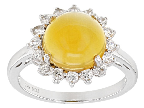 Photo of 2.65CT ROUND MEXICAN FIRE OPAL WITH .80CTW ROUND WHITE ZIRCON RHODIUM OVER STERLING SILVER RING - Size 7