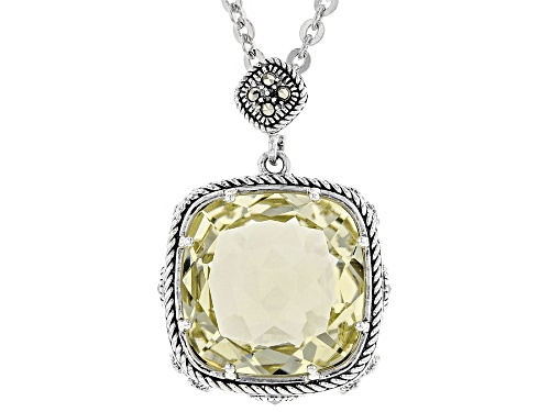 Photo of 9.73ct square cushion Canary yellow quartz with Marcasite sterling silver pendant with chain
